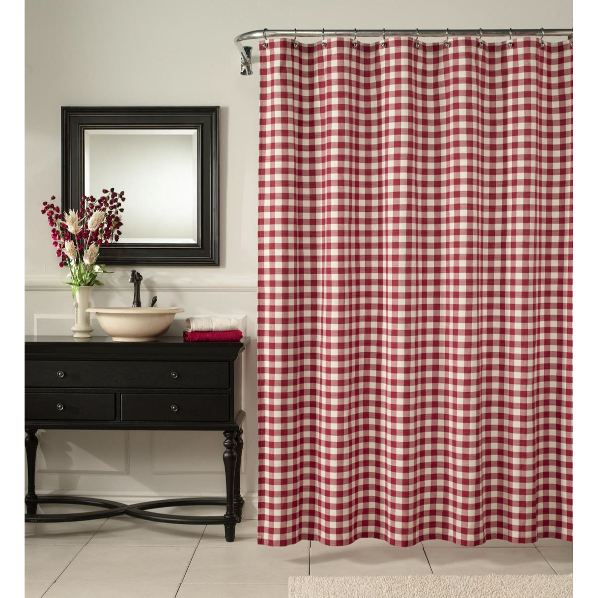 Classic Buffalo Check Fabric Shower Curtain By M Style