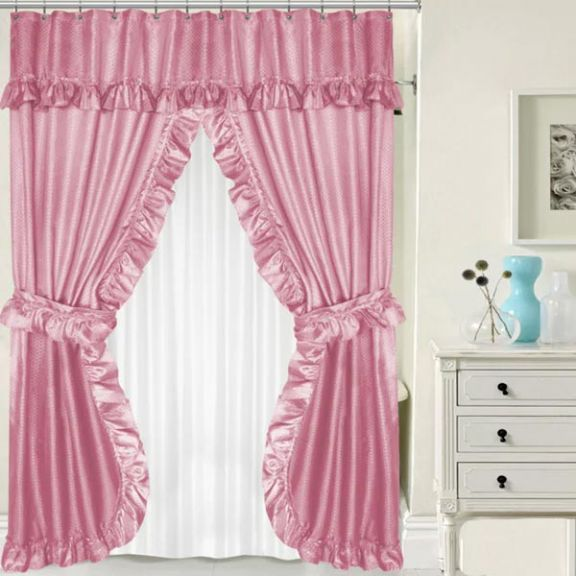 pink double swag shower curtain w available window curtain