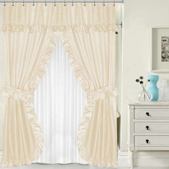 ivory lauren double swag shower curtain w available window curtain