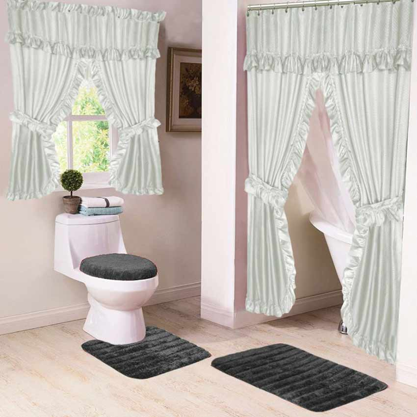 light gray lauren double swag shower curtain w available window curtain