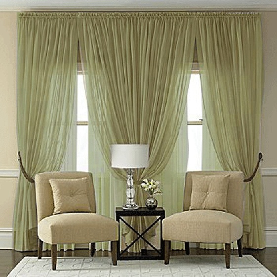 Splendor Semi Sheer Batiste Rod Pocket Panel In Olive Green