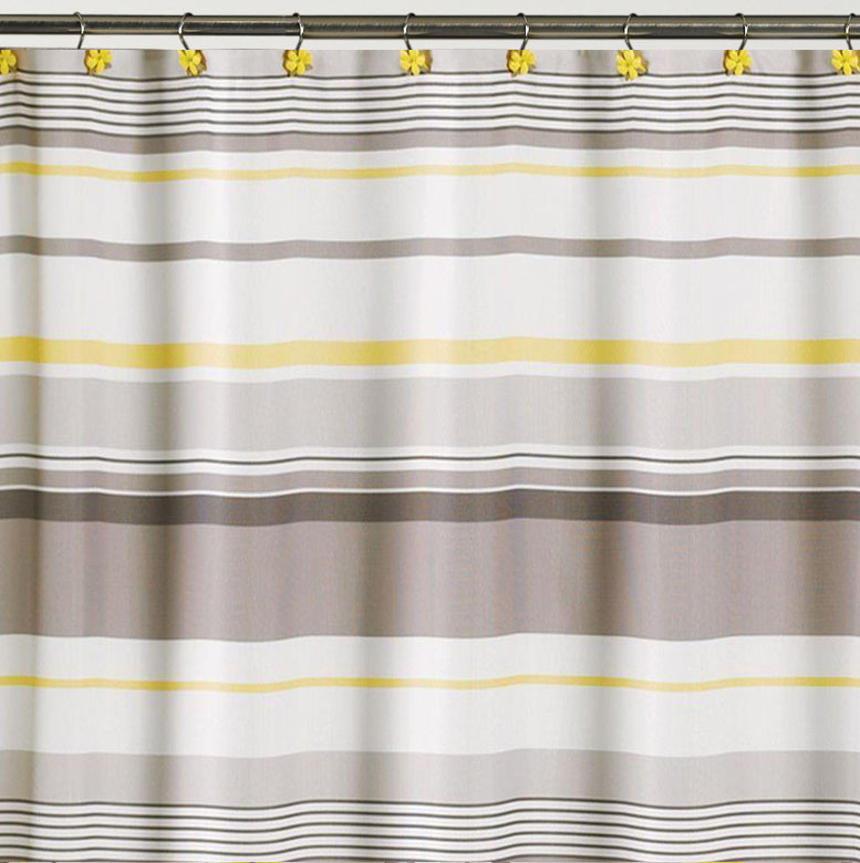 spring garden gray and yellow striped fabric shower curtain