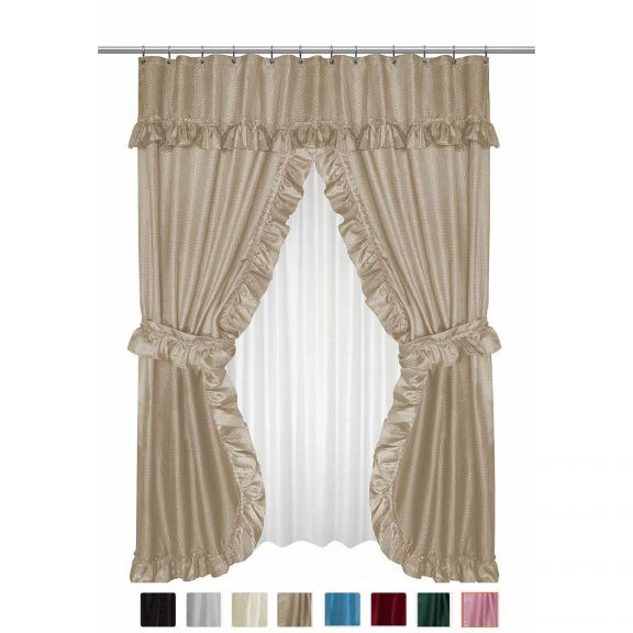 Diamond Dot Double Swag Shower Curtain With Valance And Liner Altmeyers BedBathHome