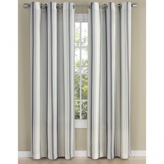 walden silver and blue stripe grommet curtain panel