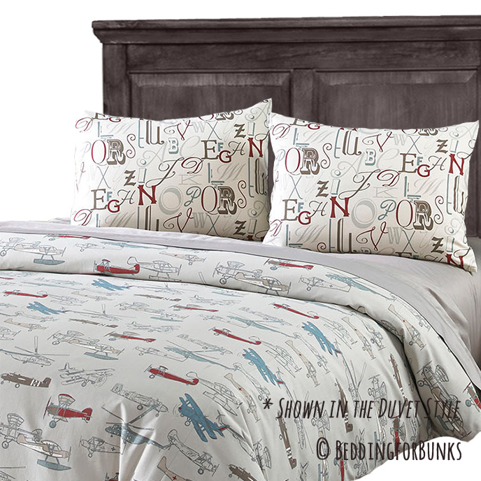 jacob vintage airplane tailored bunk bed comforter