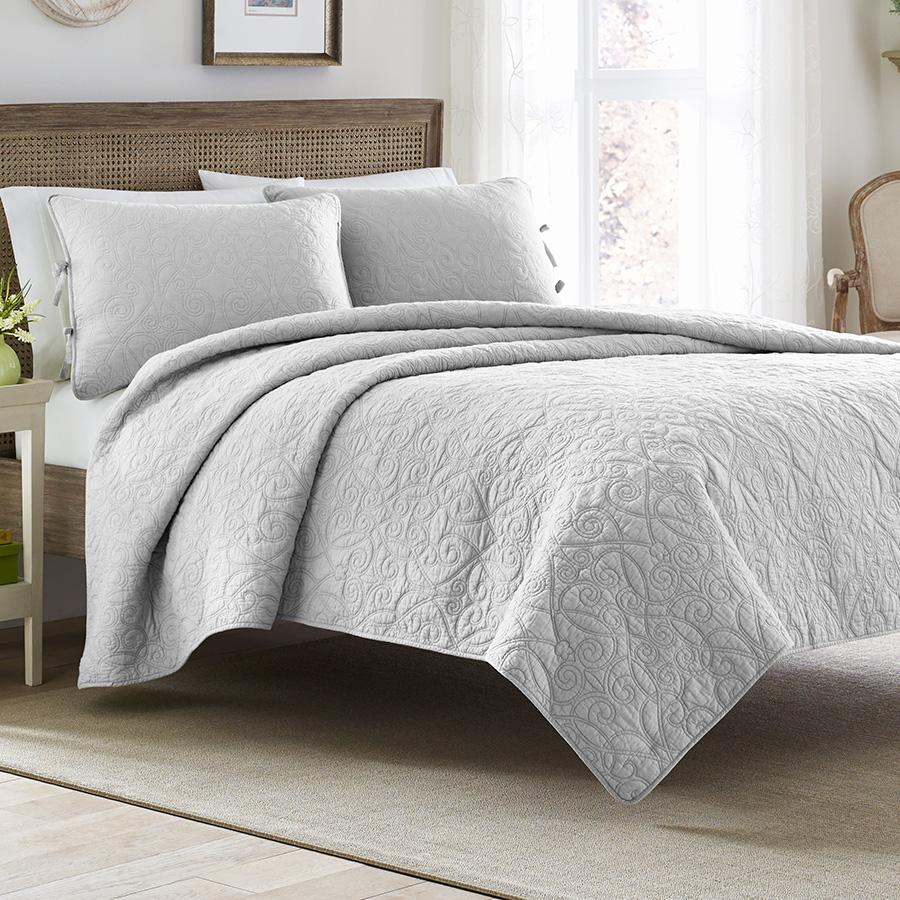 laura ashley felicity soft grey quilt set