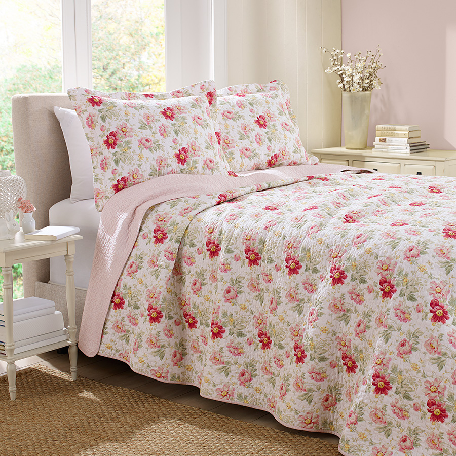 Laura Ashley Peony Garden Rose Quilt Set From Beddingstyle Com