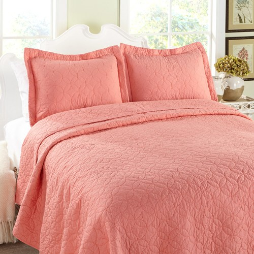 coral quilted bedspread