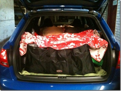 The back of the RS4, loaded ready to go