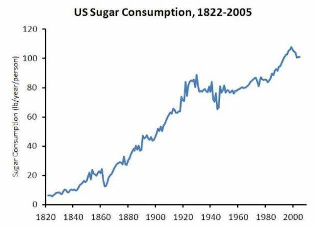 La consommation de sucre raffiné a explosé en même pas 2 siècles, nous sommes passé de 10 livres de sucre par an par personne en 1820 à plus de 100 livres de sucre par personne par an en 2000!