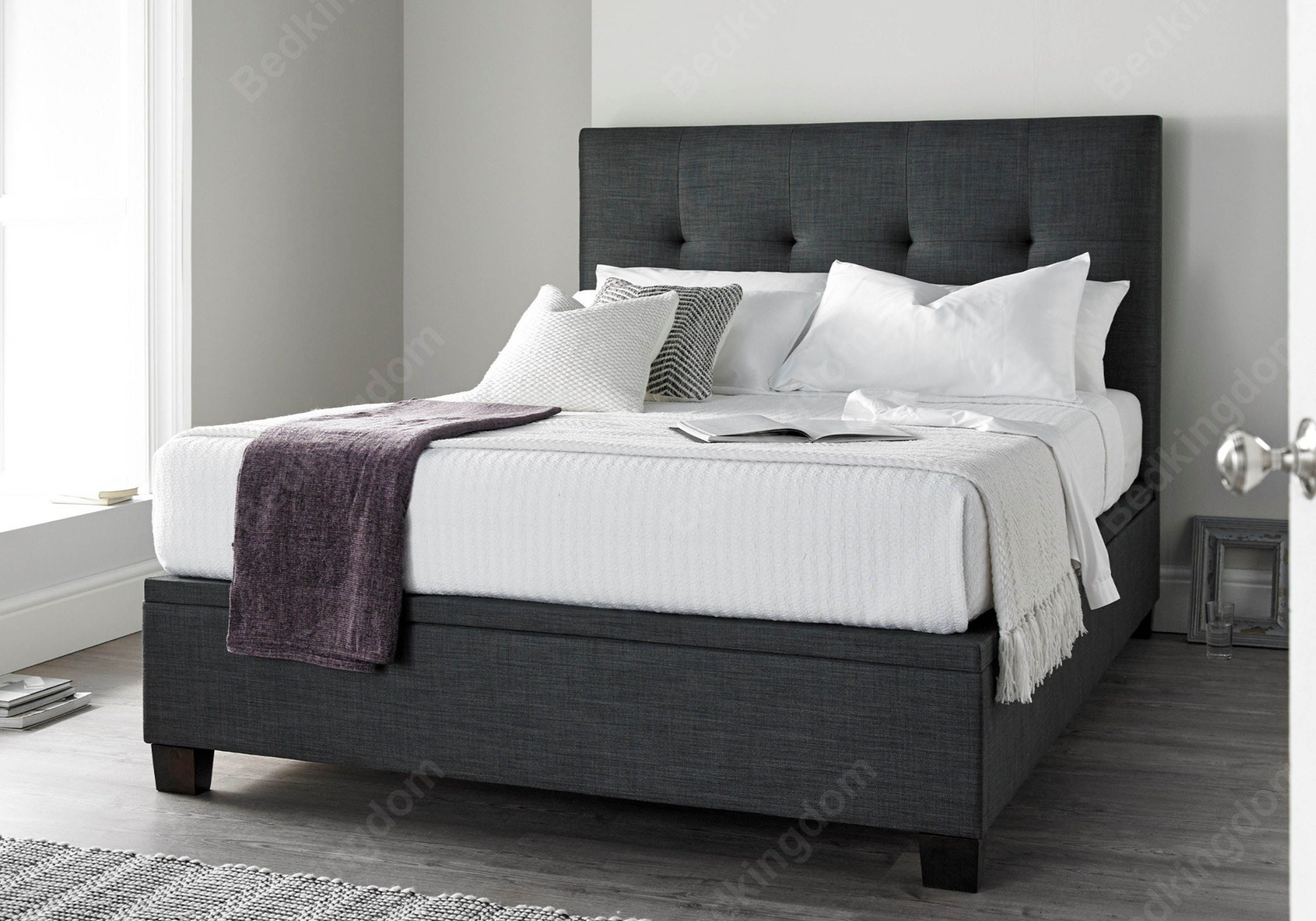 kaydian walkworth fabric ottoman bed in slate double