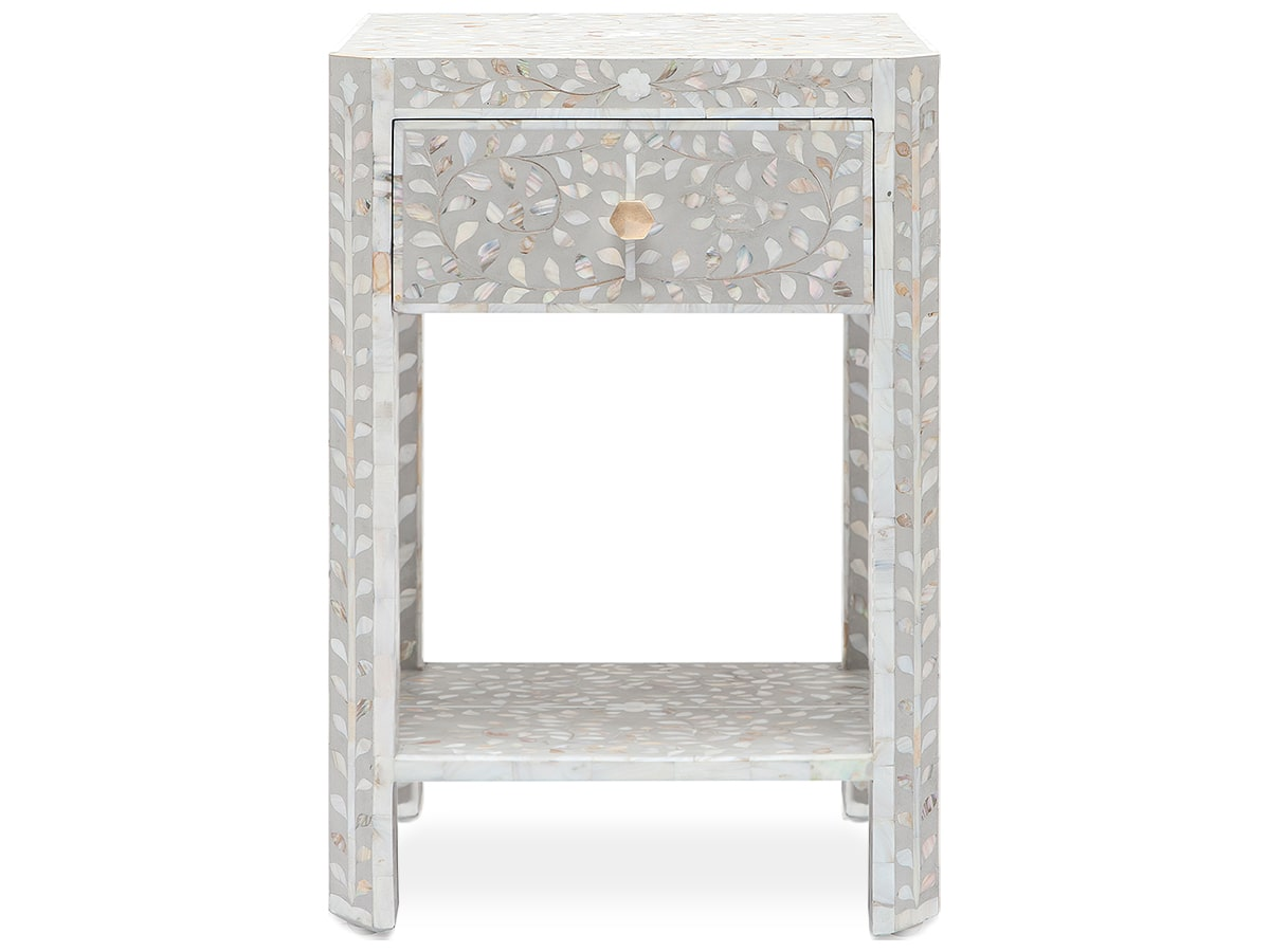 Made Goods Hessa Nightstand 18 Inch Narrow Gray Mother Of Pearl Inlay