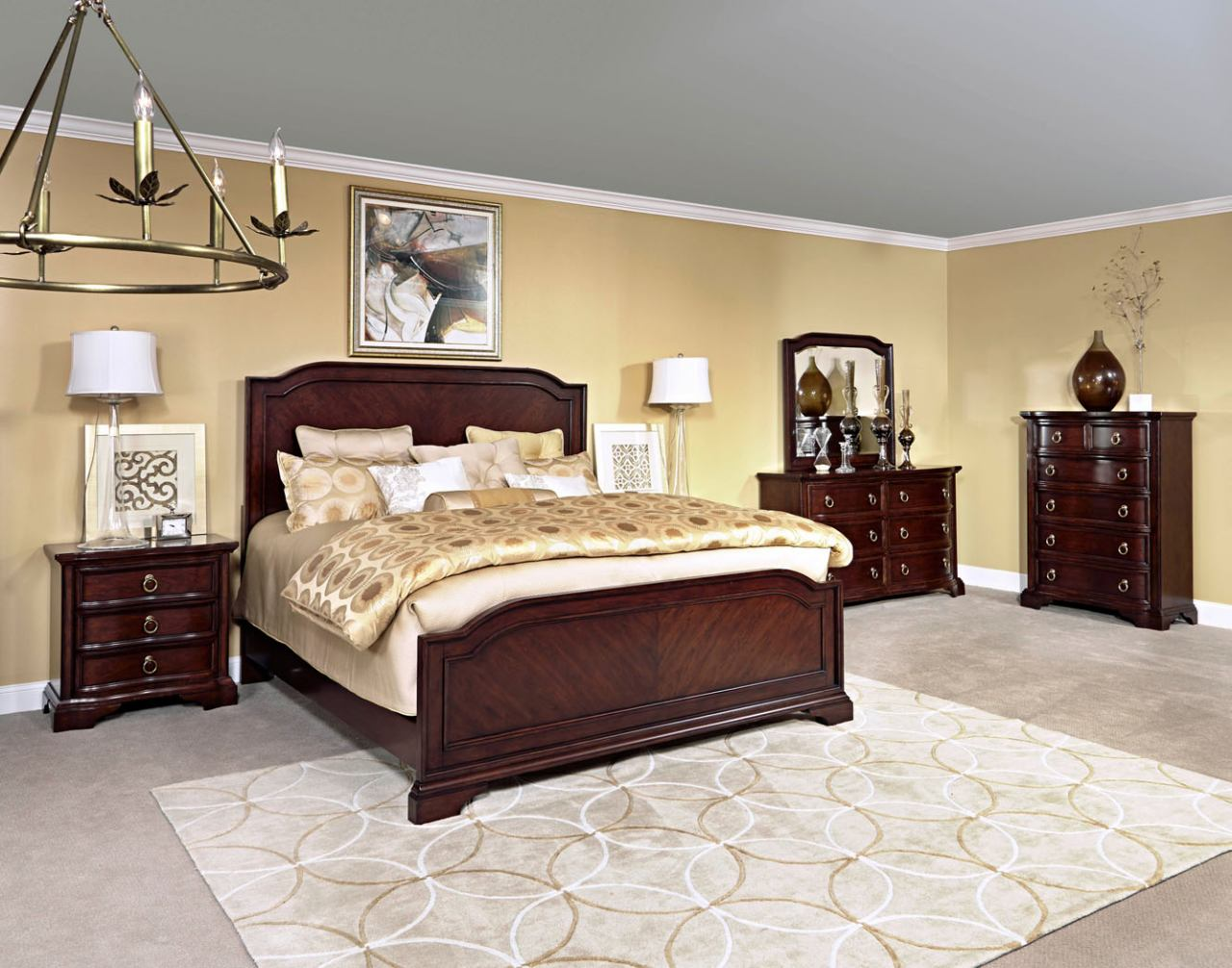 elaina panel bedroom set in rustic cherry
