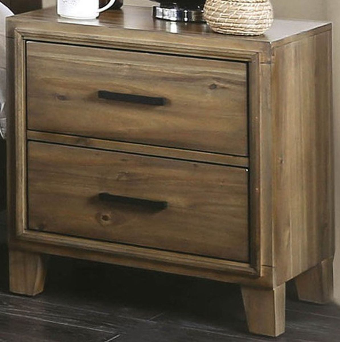 Furniture Of America Enrico I 2 Drawer Night Stand In Light Oak Cm7068a N