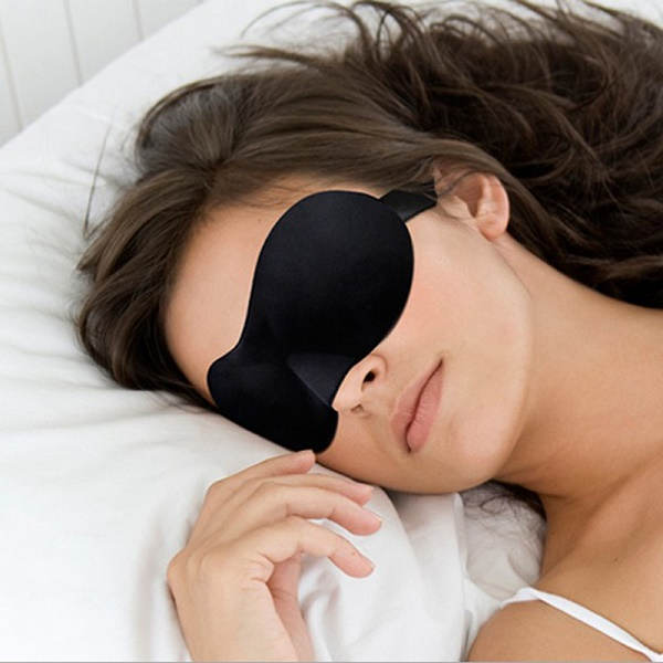 Woman Wearing Black Eye Mask