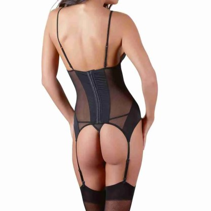 Cottelli Black Basque Suspender Set 2
