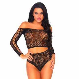 Leg Avenue 2 Piece Lace Top And Thong One Size 8 to 14 front