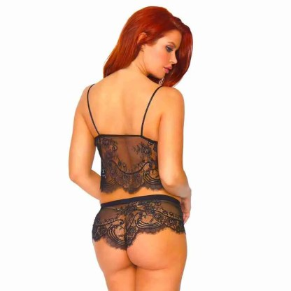 Leg Avenue Eyelash Lace Cami and Boy Shorts back