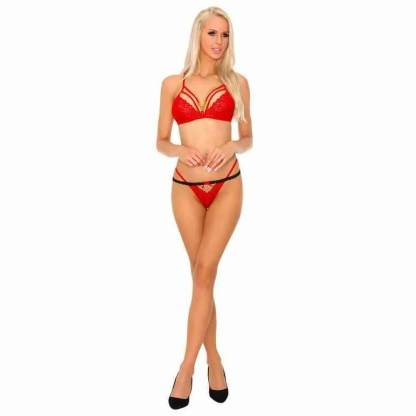 Corsetti Tarinas Red Bra and Panty Set 1