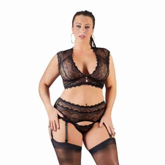 Cottelli Plus Size Bralette and String Set Black 1