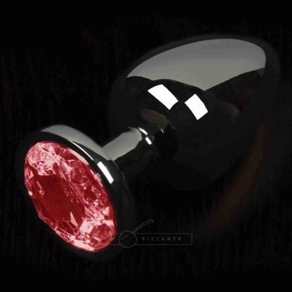 Dolce Piccante Graphite Style Small Anal Plug With Red Gem