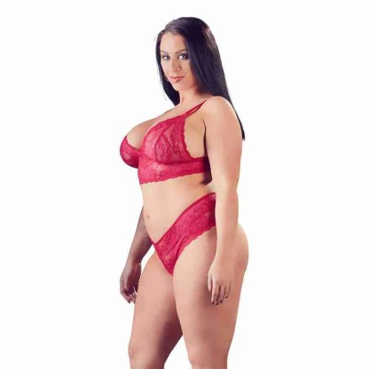 Cottelli Plus Size Red Lace Bra And Briefs 2