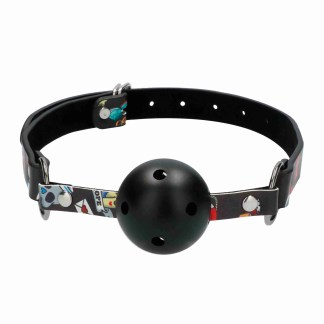 Ouch Breathable Ball Gag With Printed Leather Straps 1