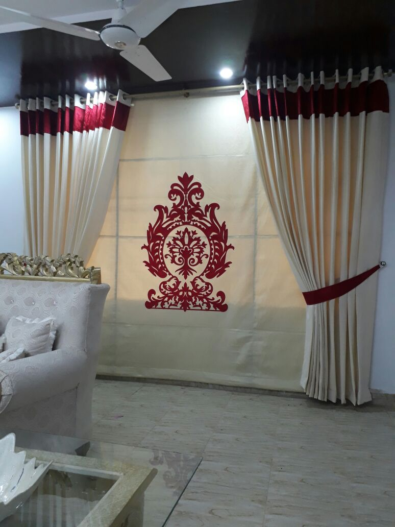 red off white curtain for wedding hall