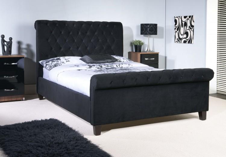 Limelight Orbit 5ft Kingsize Black Velvet Fabric Bed Frame