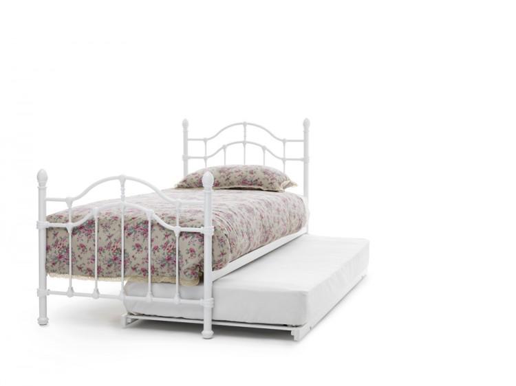 Serene Paris 3ft Single White Gloss Metal Guest Bed Frame