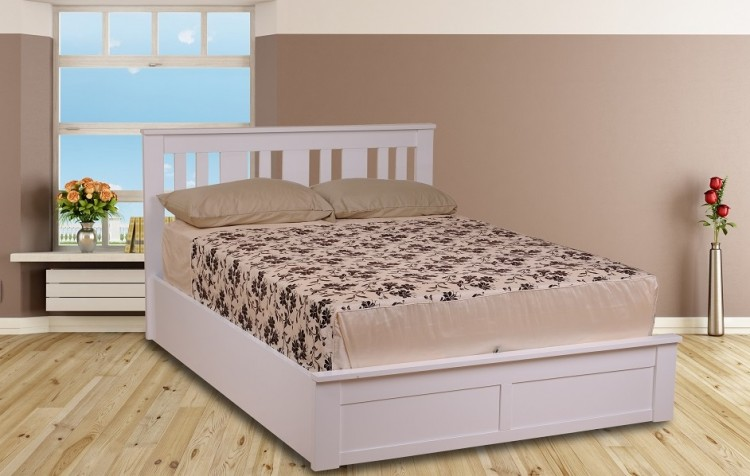 Sweet Dreams Coliseum 4ft Small Double White Ottoman Lift Wooden Bed Frame By Sweet Dreams