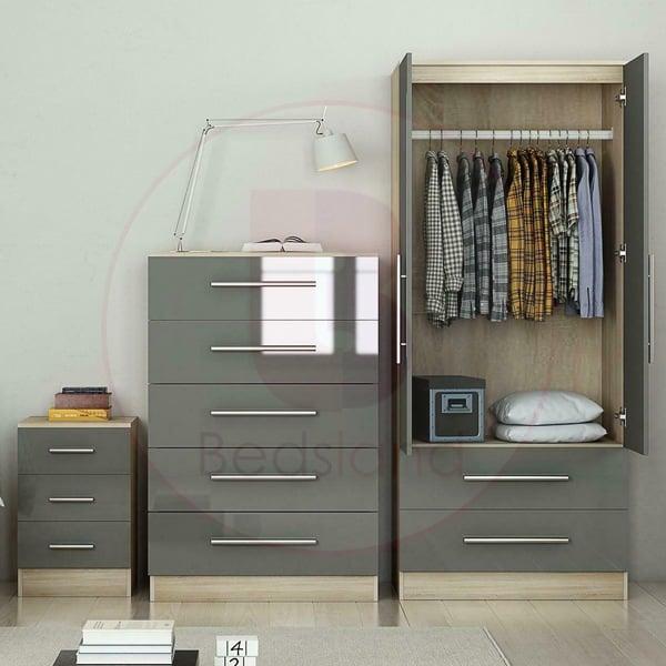 High Gloss Wardrobe Bedside Chest Set For Bedroom Bedsland