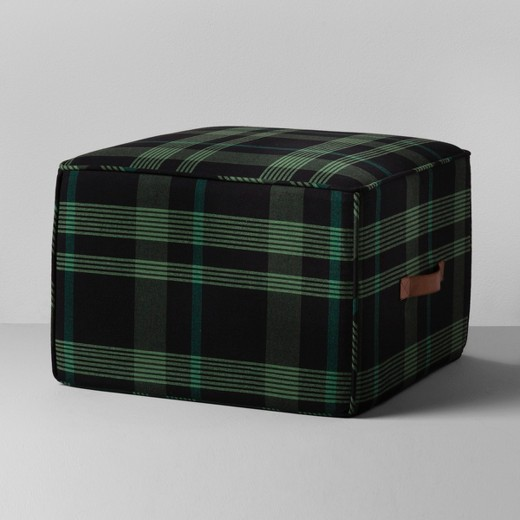 Hearth and Hand green plaid pouf from Target.