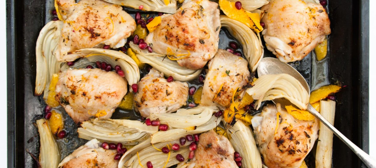 Chicken with orange, fennel and pomegranate