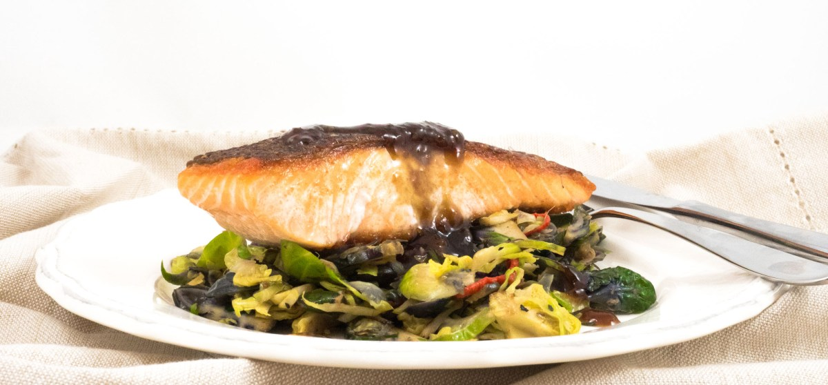 Teriyaki salmon with stir-fried sprouts