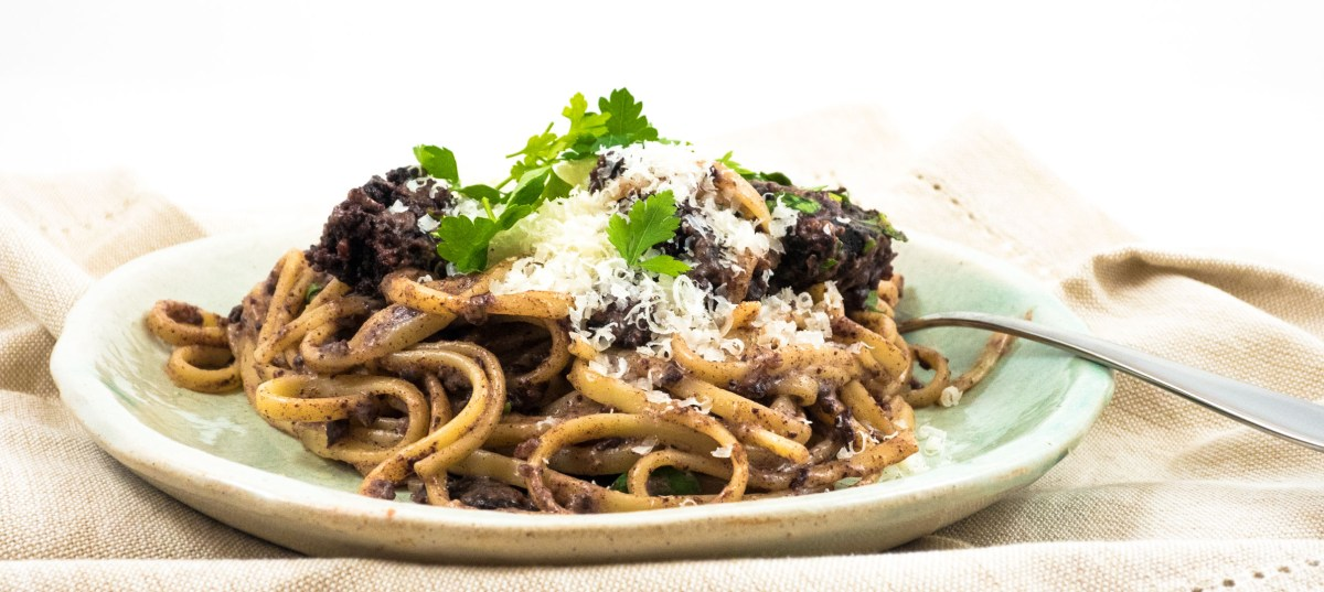 Black pudding carbonara