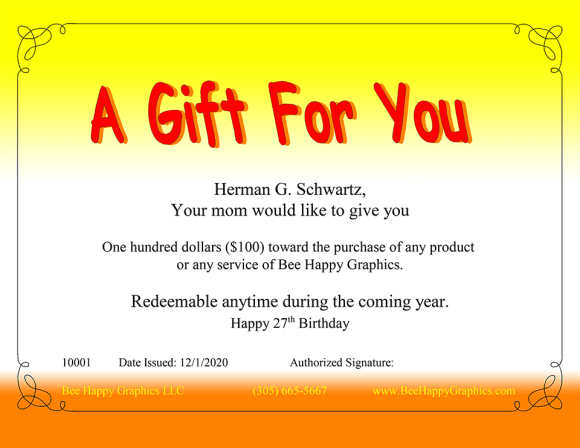 An example of our less-formal gift certificate