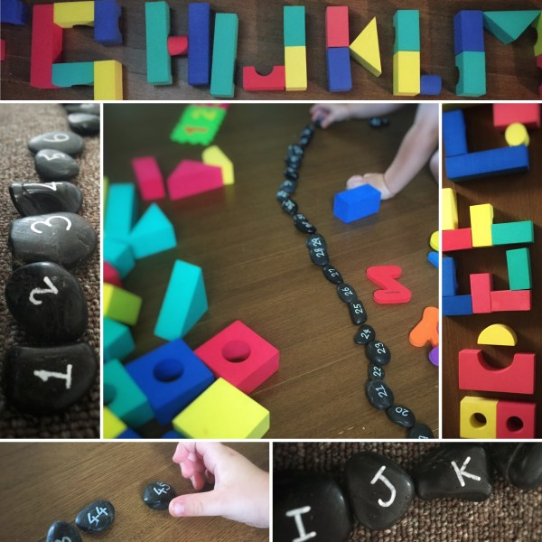 Collage picture of child at play. Sequencing numbers and forming letters from blocks.