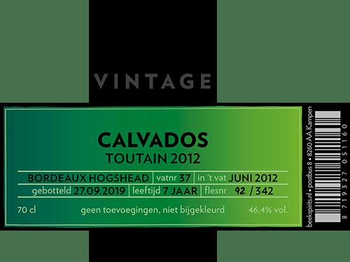 Beek vintage calvados Toutain 2012 Bordeauxetiket