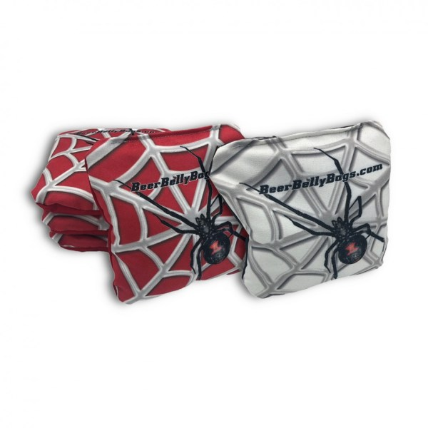 Red & White Black Widow Set of 8 Beer Belly Bags Performance Cornhole Bags
