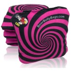 Pink Spiral Set of 4 Beer Belly Bags Performance Cornhole Bags