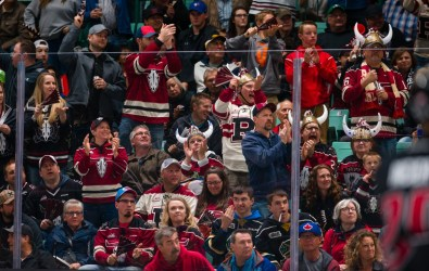 The host team Red Deer Rebels fans played a huge part in tonight's game making deafening noise all night. Rob Wallator/CHL Images