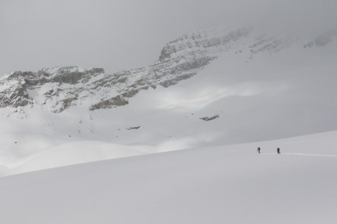 skiing off the glacier