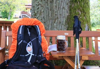 hiking sticks with beer