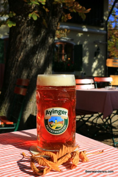 amber beer in mug with leaves