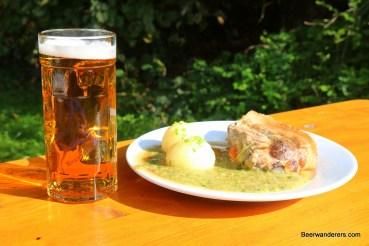 food and beer at Biergarten