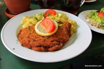 big schnitzel on plate