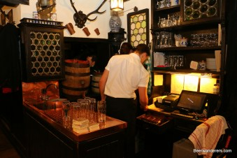 old pub with wooden barrels