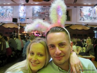 girl and guy with bunny ears