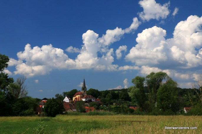 village church across a field